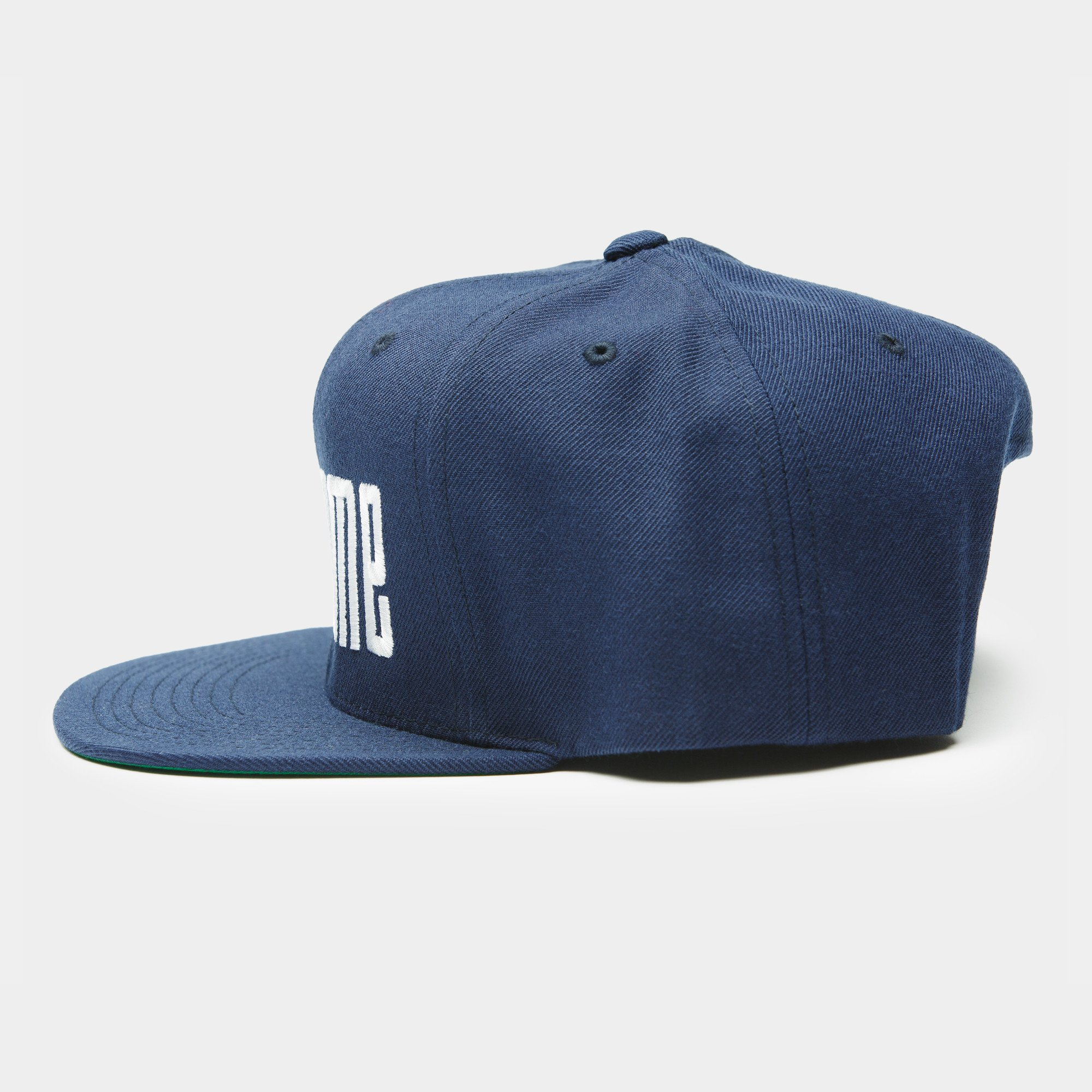 Logo Embroidery Snapback Cap - White / Blue
